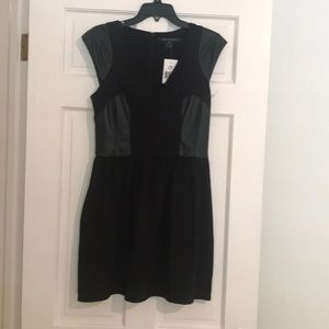 Black dress with vegan leather panels
